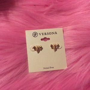 Versona nickel free gold bee earrings